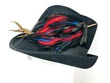 Vintage Henry Pollak Glenover Black Wool Cloche Grosgrain Feather Hat Womens