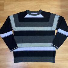Billabong Men's Size XL Black & Gray Striped Crewneck Sweater