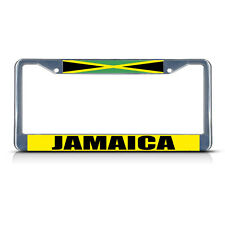 JAMAICA FLAG Chrome Heavy Duty Metal License Plate Frame Tag Border