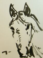 Jose Trujillo Ink Wash New 18x24 Expressionist Horse Painting Equestrian Art