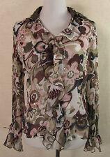 Geblümte Damenblusen, - tops & -shirts mit Flügelärmeln für die Freizeit-Blusen