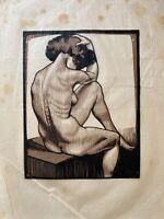 Farbholzschnitt Weiblicher Akt Frans Ermengem (1893-1985) Belgien 41,5 x 30 cm #