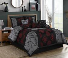 7 Piece Shangrula Jacquard Big Square Patchwork Gray and Burgundy Comforter Set