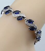 """Blue Sapphire White Topaz Overlay 925 Sterling Silver Bracelet  Bangle 7-8"""""""