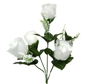 5 Roses Buds Artificial Flowers Silk Fake Faux Wedding Bouquet Arrangement Decor