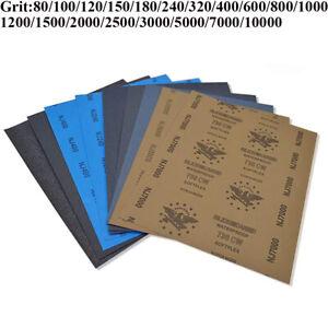 Wet and Dry Sandpaper Waterproof Abrasive Sanding Paper Sheets 80 - 10000 Grit