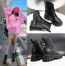 Womens Winter Chunky Low heel Biker Ankle Boots Hidden Heel Military Shoes New