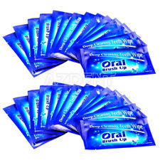 UK 500PCS Dental Finger Deep Cleaning Teeth Wipes Whitening Oral Care Brush Up