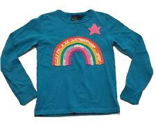 Mini Boden Rainbow Applique Star Top Shirt Long Sleeve Teal Girl 11 12 years