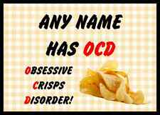 Funny Obsessive Disorder Crisps Yellow Personalised Dinner Table Placemat