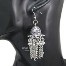 Ethnic Bali Jhumka Jhumki Silver Bridal Concho Mexico Gypsy Dangle Earrings W3