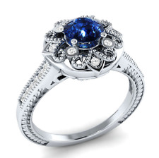Women Round Cut Blue Sapphire 925 Silver Jewelry Elegant Wedding Ring Size 10