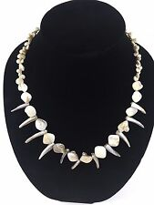 Cream Bone Color Stones Fashion Jewelry Necklace Easy Clasp Good Used Condition