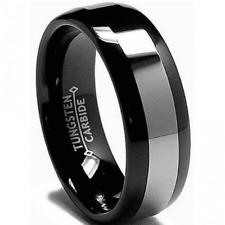Luxury Black Mens Tungsten Carbide Wedding Engagement Ring