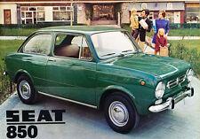 SEAT 850 Coupe Fiat English Original Car Sales Brochure Catalog 1972 1971