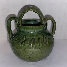 "Oaxaca Traditional Green Glaze Pottery Bowl Pitcher Miniature 2.25"""