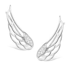 925 Sterling Silver Angel wings earrings climbers studs stunning