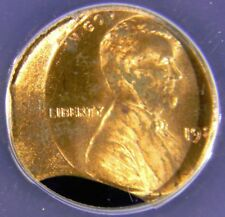 1980 LINCOLN CENT, DOUBLE CURVED CLIPS & STRUCK 20% OFF CENTER, ANACS MS63RB