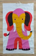 Pink KREIER Elephant Alexander Girard Eames Style Mid Century Art Fabric Textile