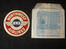 Old Vtg Jack-Bilt E-Z Stick On Badges Northwest Airlines Apply Instructions