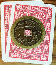 LUCKY DRAGON / PHOENIX CASINO POKER CARD GUARD COVER CHINESE COIN FENG SHUI