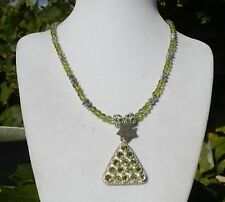 """16"""" Handmade Peridot and Crystal Necklace with Matching Pendant"""