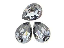 Swarovski Foiled Pear Stones Art.4320 18x13mm Crystal Silver Night 3 Pieces cc