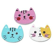 hot Mixed Color Wood Sewing Button Scrapbooking Cute Cat Shaped Crafts 2Holes