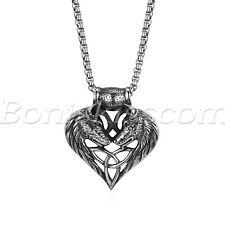 Herren Halskette Edelstahl Wolfskopf Herz Anhänger mit 56cm Kette Männer Silber