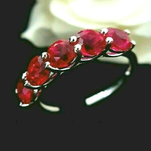 Ladies 925 Sterling Silver Simulated Ruby Half Eternity Band Ring Size O