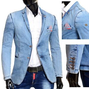 Men's Casual Denim Blazer Jacket Light Blue Washed Out Cotton Comfort Fit Spring