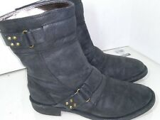 DKNY Black Flat Leather  Ankle Boots Booties Buckle Moto Womens Size 8.5