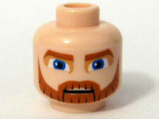 LEGO Star Wars - Minifig, Head Thick Beard, Brown Eyebrows, Moustache Blue Eyes