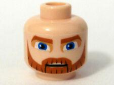 LEGO Star Wars - Minifig, Head Thick Beard, Brown Eyebrows, Moustache Blue Eyes