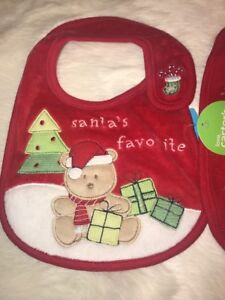 Carter's Santa's Favorite Baby Christmas Bib Red NWT One Size