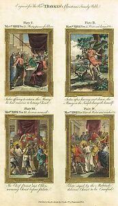 "Bankes' Christian Bible ""JUDAS HANGS HIMSELF"" etc - Hand-Col. Eng. -c1760"