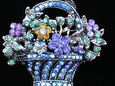MULTI RHINESTONE SPRING MOTHER'S DAY EASTER BOUQUET FLOWER BASKET PIN BROOCH 1.5