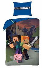 Minecraft Gioco Youth Bambini Letto Singolo Set Copripiumino 100% COTONE