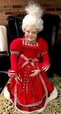 "Posable Mrs Claus Ornament Christmas Peppermint 14"" Mrs Claus Figure Wreath Swag"