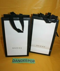 2 Gucci Empty Designer Shopping Bags White And Black