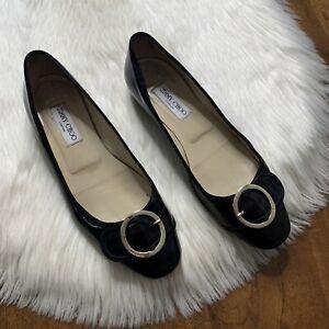 Jimmy Choo Women's Size 39.5 / US 9.5 Black Patent Leather Buckle Detail Flats