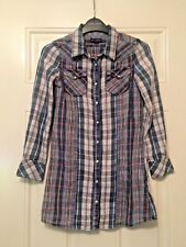Ladies Ralph Lauren Blue White Checked 3/4 Sleeve Shirt Blouse Size 8 B19