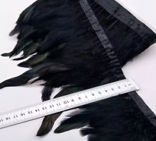 30cm BLACK BRONZE Rooster Coque Feather Fringe Ribbon Trim DIY Craft