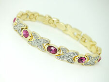 Womens Gold Colour Magnetic Bracelet Pink Gem Stones In Gift Pouch Arthritis Aid