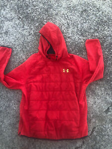 New Under Armour Mens Hooded Sweatshirt Jacket Size Large Red Silver Hoodie UA
