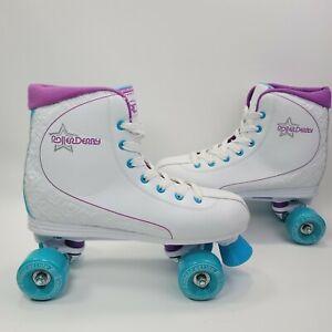 RD Roller Derby Roller Star 600 Skates Quad Wheel White Purple Blue Womens Sz 10