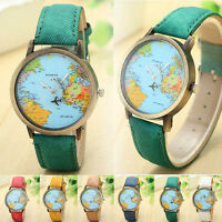 Women World Map Dia Leather Band Stainless Steel Quartz Analog Wrist Watch #RF6