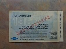 1967 Chevrolet REPLACEMENT Owner Protection Plan Booklet edition 3930938 Camaro