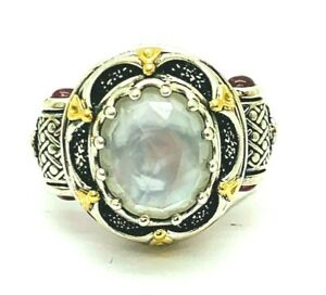 Konstantino Sterling and 18K Mother of Pearl and Pink Tourmaline Ring