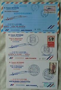 Air France Concorde Presidential covers - Paris Fort de France Point a Pitre